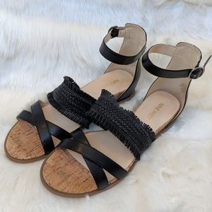 Nine West low wedge sandals, vegan leather, 7.5